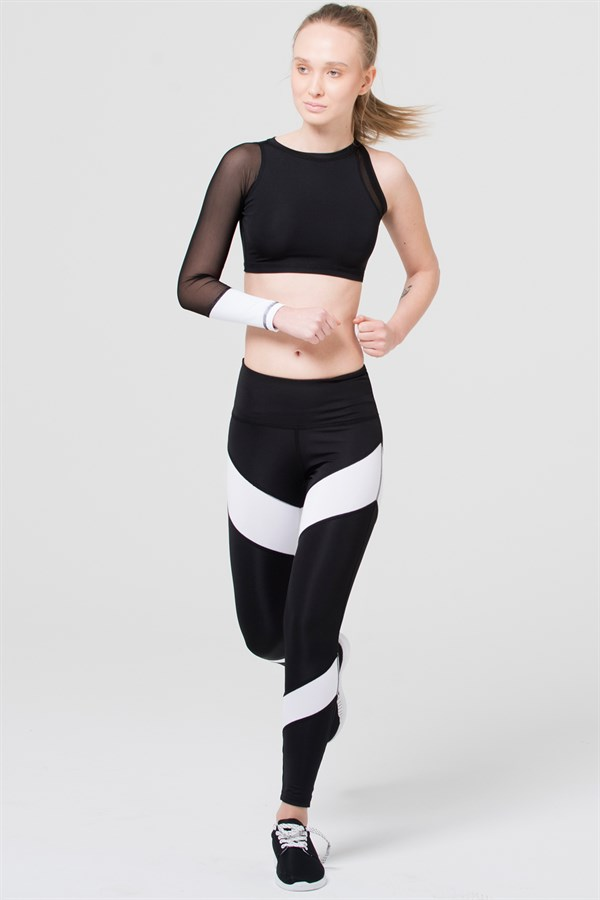 B&W one sleeve crop top with mesh
