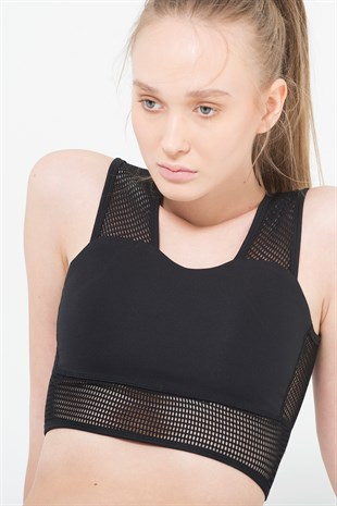 Fishnet strapped cropped sports bra